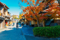 Gion street with autumn colorful maple in Kyoto, Japan Stock Image