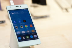 GIONEE E7, MOBILE WORLD CONGRESS 2014 Stock Photos