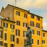 Giordano Bruno Sculpture Rome, Italien arkivbilder