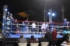 Giorgi Gelashvili,做他的专业首演的一个初级次中量级拳击手 免版税库存照片