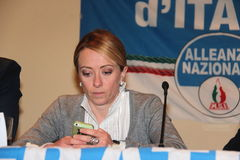 Giorgia Meloni. Italian honorable, president of the political party brethren of Italy, photographed in Livorno during the public meeting in support of mayoral Royalty Free Stock Image
