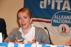 Giorgia Meloni. Italian honorable, president of the political party brethren of Italy, photographed in Livorno during the public meeting in support of mayoral Royalty Free Stock Photo