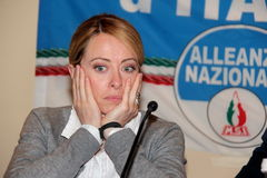 Giorgia Meloni. Italian honorable, president of the political party brethren of Italy, photographed in Livorno during the public meeting in support of mayoral Stock Images