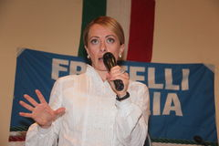 Giorgia Meloni. Italian honorable, president of the political party brethren of Italy, photographed in Livorno during the public meeting in support of mayoral Stock Image