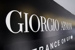 Giorgio Armani sign Stock Photography