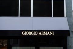 Giorgio Armani Store Logo in Frankfurt stockfoto