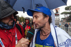 Giorgio Calcaterra interviewed after the marathon Royalty Free Stock Photos