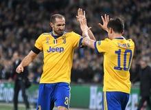 Giorgio Chiellini And Paulo Dybala Goal Celebration Stock Images