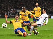 Giorgio Chiellini, Blaise Matuidi and Heung-Min Son. Players pictured during the UEFA Champions League Round of 16 game between Tottenham Hotspur and Juventus Royalty Free Stock Photos