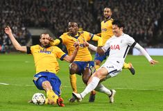 Giorgio Chiellini, Blaise Matuidi and Heung-Min Son. Players pictured during the UEFA Champions League Round of 16 game between Tottenham Hotspur and Juventus Stock Photos