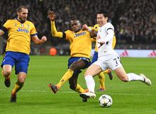 Giorgio Chiellini, Blaise Matuidi and Heung-Min Son. Players pictured during the UEFA Champions League Round of 16 game between Tottenham Hotspur and Juventus Royalty Free Stock Image