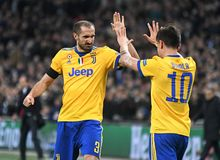 Giorgio Chiellini and Paulo Dybala goal celebration Stock Images
