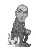 Giorgos Donis Caricature-Skizze Lizenzfreie Stockfotos
