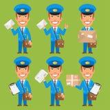 Giornale del pacchetto della lettera della tenuta del postino illustrazione vettoriale