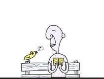Giornale della lettura dell'uomo del bookartoon della lettura dell'uomo anziano del fumetto Immagini Stock