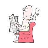 Giornale della lettura dell'uomo del fumetto Fotografia Stock