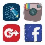 Giornale di vita, facebook, instagram, Google più l'icona dei media sociali, scarabocchio di colore Fotografia Stock