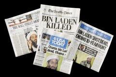 Giornali, Osama bin Laden guasto, editoriali Fotografia Stock