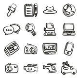 Giornalista Or Reporter Icons a mano libera Immagini Stock