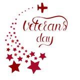 Giornata dei veterani dell'iscrizione Onorando tutti che serviscano Stelle ed aeroplano Fotografia Stock