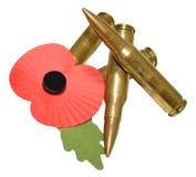 Giornata della memoria Poppy And Bullets Fotografie Stock Libere da Diritti