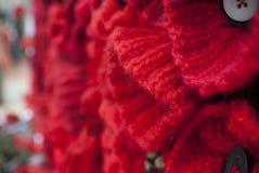 Giornata della memoria rossa tricottata di giorno del anzac del papavero Immagine Stock