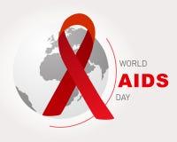 Giornata mondiale contro l'AIDS Manifesto di Giornata mondiale contro l'AIDS Nastro rosso sul globo del mondo royalty illustrazione gratis