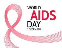 Giornata mondiale contro l'AIDS Nastro rosso astratto illustrazione di stock