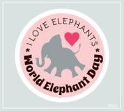 Giornata mondiale dell'ambiente e giorno dell'elefante del mondo Autoadesivi di vettore, emblemi, logo Piccola siluetta dell'elef Fotografie Stock