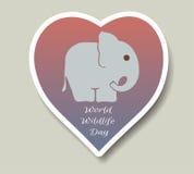 Giornata mondiale dell'ambiente e giorno dell'elefante del mondo Autoadesivi di vettore, emblemi, logo Piccola siluetta dell'elef Fotografia Stock Libera da Diritti