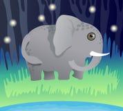 Giornata mondiale dell'ambiente e giorno dell'elefante del mondo Piccolo elefante sull'erba nella foresta illustrazione vettoriale