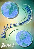 Giornata mondiale dell'ambiente 5 giugno, modello dell'aletta di filatoio con orientale e emisferi occidentali su fondo verde pol Immagine Stock