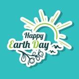 Giornata per la Terra felice Sunny Birds dell'autoadesivo Illustrazione di Stock