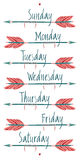 Giorni della settimana e delle frecce Fotografia Stock Libera da Diritti