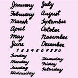 Giorni di nomi disegnati a mano della settimana e del mese Fotografia Stock