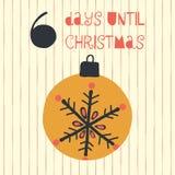 6 giorni fino all'illustrazione di vettore di Natale Conto alla rovescia di Natale sei giorni fino a Santa Stile dell'annata Orna illustrazione di stock