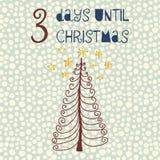 3 giorni fino all'illustrazione di vettore di Natale Conto alla rovescia di Natale tre giorni Stile dell'annata Stelle disegnate  illustrazione di stock