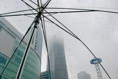 Giorni piovosi Ombrello trasparente sotto la pioggia Immagini Stock Libere da Diritti