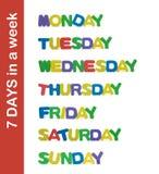 7 giorni in una lettera di settimana Fotografie Stock