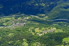 Giornico aerial, Switzerland Royalty Free Stock Image