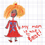 Giorno accogliente del disegno card.Doodles.Mother della mano dei bambini Fotografia Stock Libera da Diritti