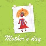Giorno accogliente del disegno card.Doodles.Mother della mano dei bambini Immagine Stock
