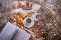 Giorno accogliente dell'autunno con il libro ed il caffè fotografie stock libere da diritti