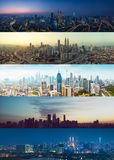 Giorno all'insieme combinato di paesaggio urbano di Kuala Lumpur di notte immagini stock libere da diritti