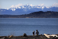 Giorno alla spiaggia Edmonds Washington Fotografia Stock