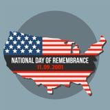 Giorno americano nazionale del fondo di ricordo, stile piano illustrazione vettoriale