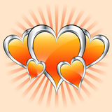 Giorno arancione dei cuori, del biglietto di S. Valentino o di madri Fotografia Stock