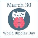 Giorno bipolare del mondo 30 marzo Calendario di festa di marzo Cervello ed espressioni Illustrazione di vettore per la vostra ac royalty illustrazione gratis