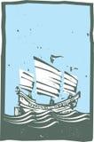 Giorno cinese di navigazione del ciarpame dell'intaglio in legno Immagine Stock Libera da Diritti