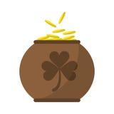 Giorno completo di St Patrick di celebrazione della decorazione dell'acetosella delle monete del vaso di Brown illustrazione vettoriale